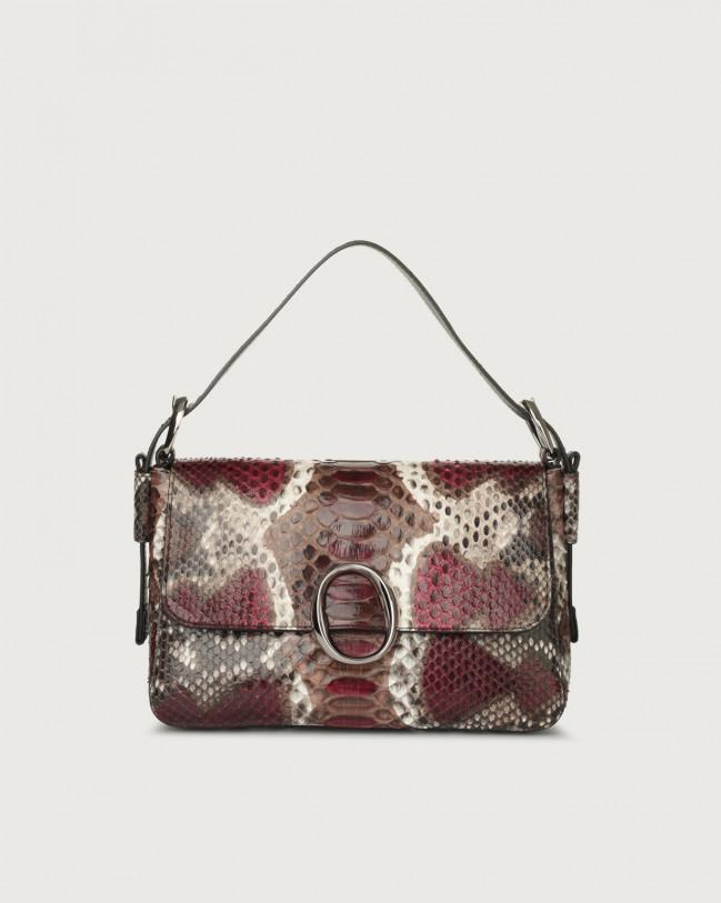 Orciani Soho Naponos python leather baguette bag with strap Python Leather Bordeaux