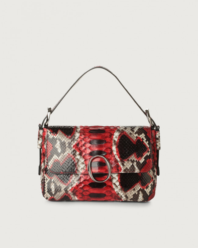 Orciani Soho Naponos python leather baguette bag with strap Python Leather Red