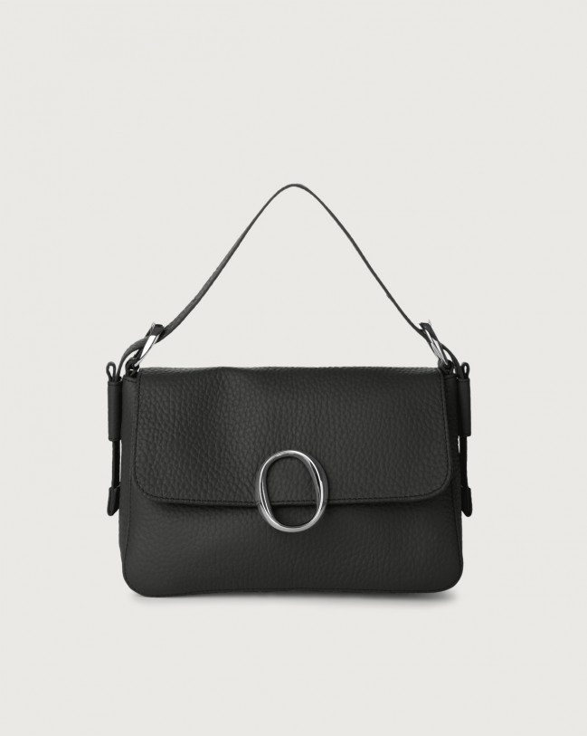 Orciani Soho Soft leather baguette bag with strap Leather Black