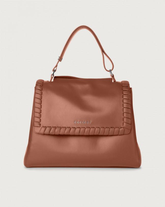 Orciani Sveva Liberty medium leather shoulder bag with strap Leather Cognac