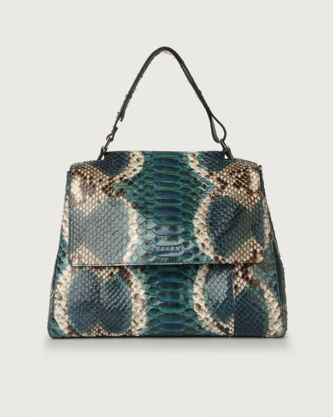 Orciani Sveva Naponos medium python leather shoulder bag with strap Python Leather Blue
