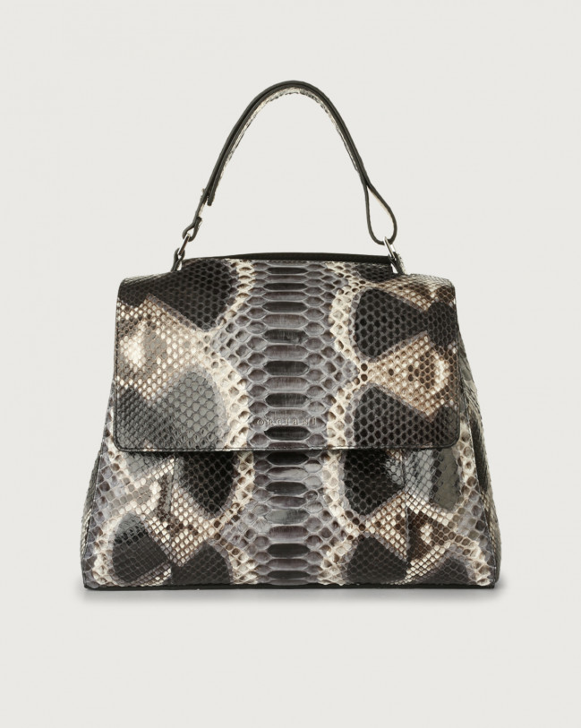 Orciani Sveva Naponos medium python leather shoulder bag with strap Python Leather Grey