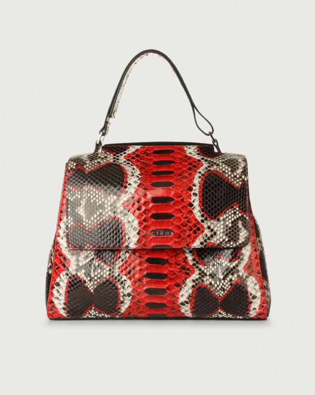 Orciani Sveva Naponos medium python leather shoulder bag with strap Red