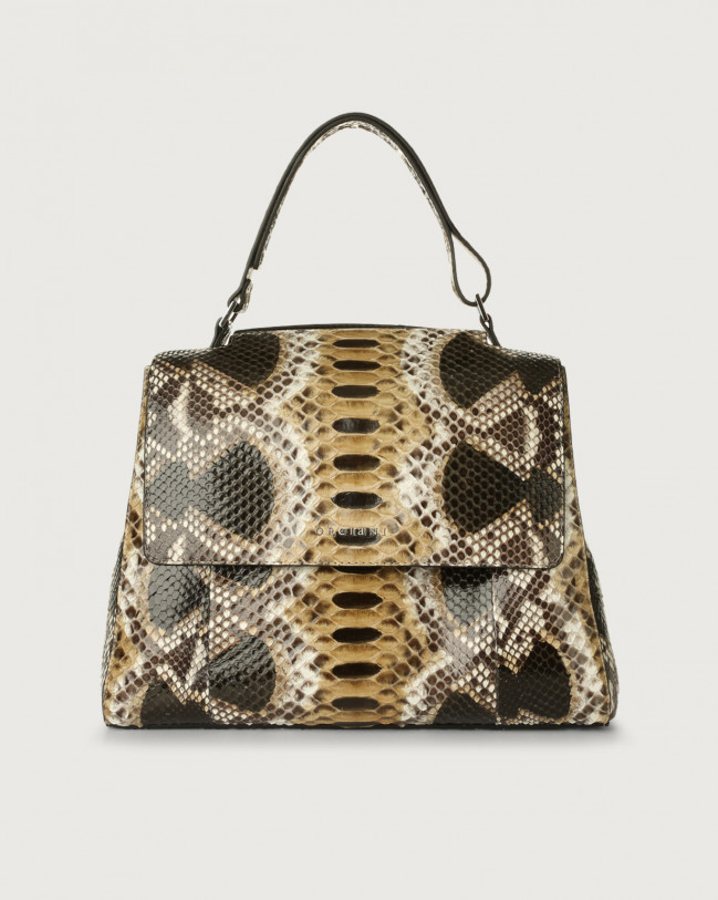 Orciani Sveva Naponos medium python leather shoulder bag with strap Python Leather Sand