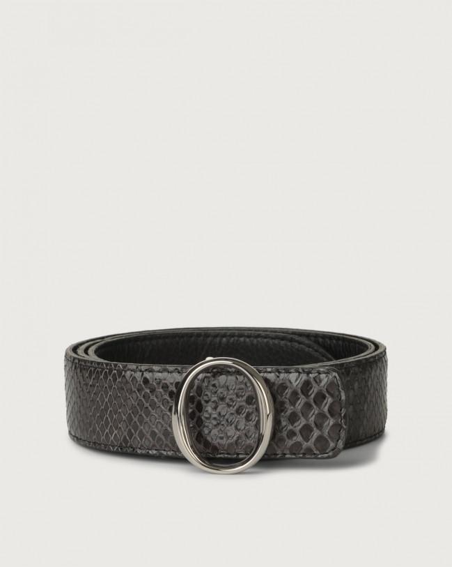 Orciani Diamond python leather belt with monogram buckle Python Leather Dark grey