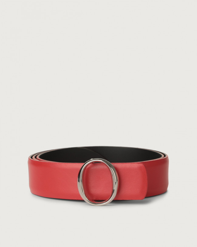 Orciani Micron leather belt with monogram buckle Leather Red