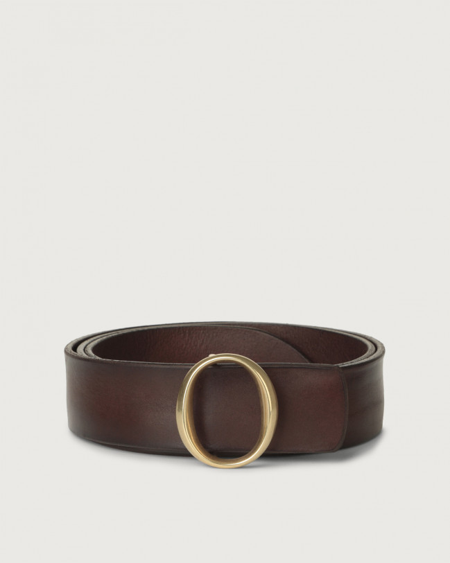 Orciani Bull Soft leather belt with monogram buckle Chocolate