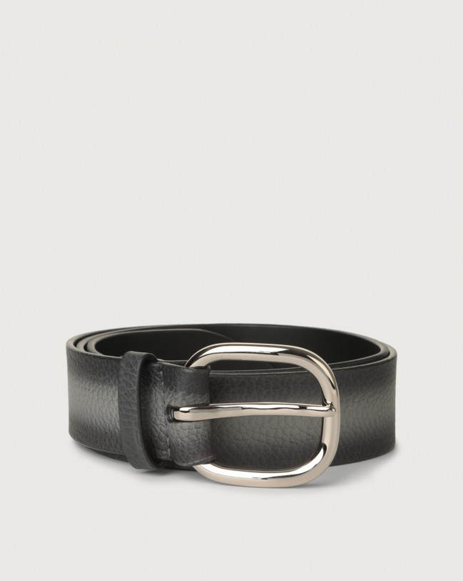 Orciani Micron Deep leather belt with metal eyelets Leather Grey