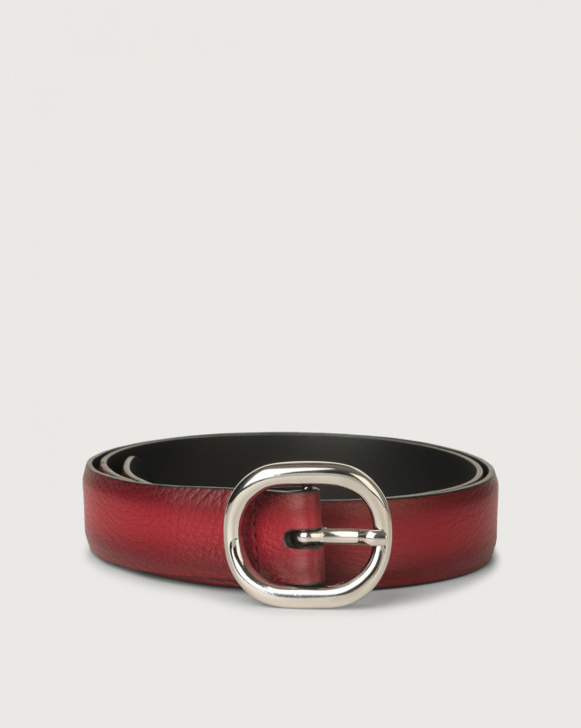 Orciani Micron Deep leather belt Leather Ruby red