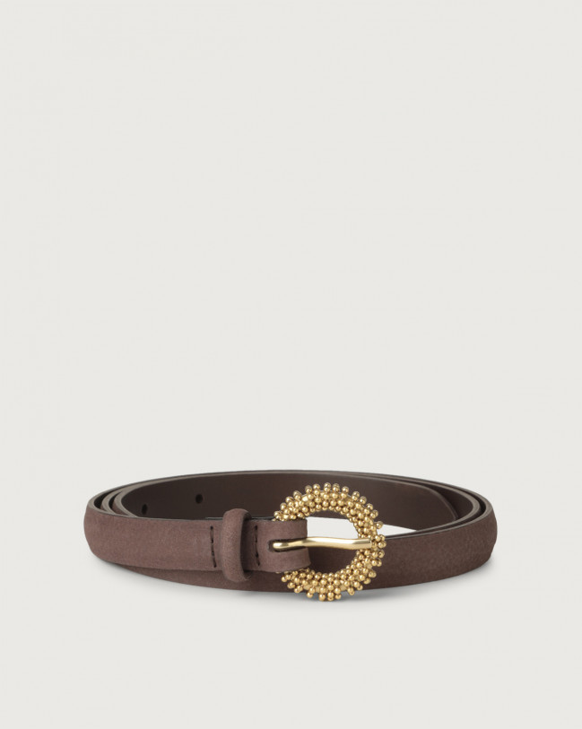 Orciani Alicante thin nabuck leather belt with chain buckle Nabuck Cocoa
