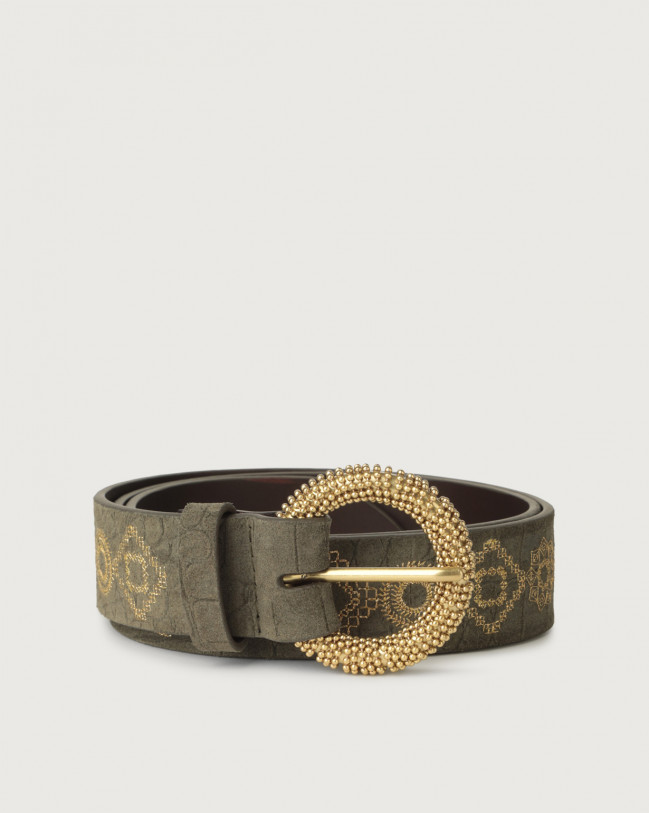 Orciani Cashmere croc-effect suede belt with chain buckle Suede Military green
