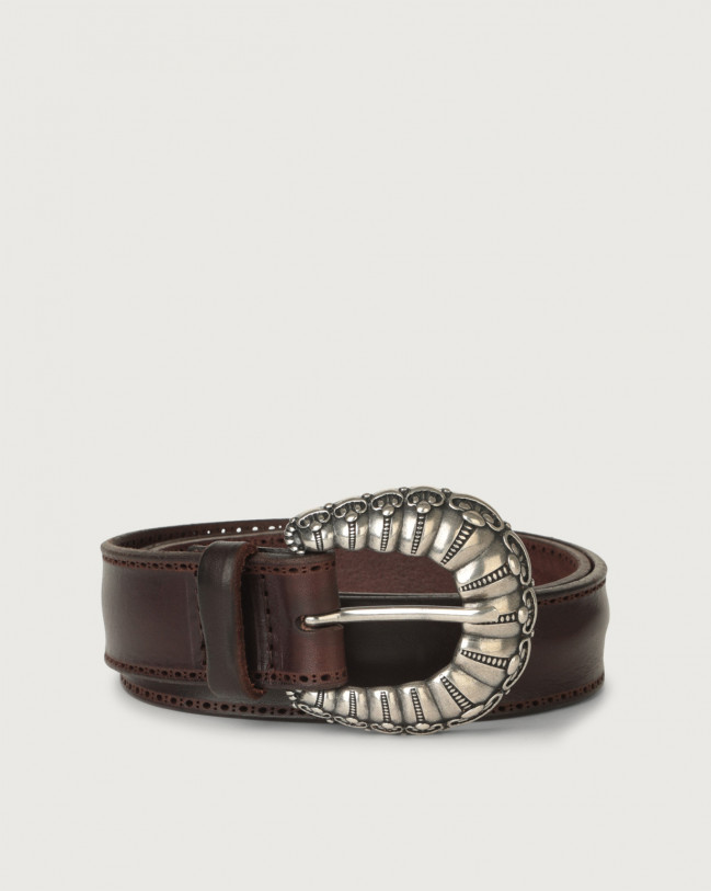Orciani Bull Soft leather belt 3,2 cm Leather Chocolate