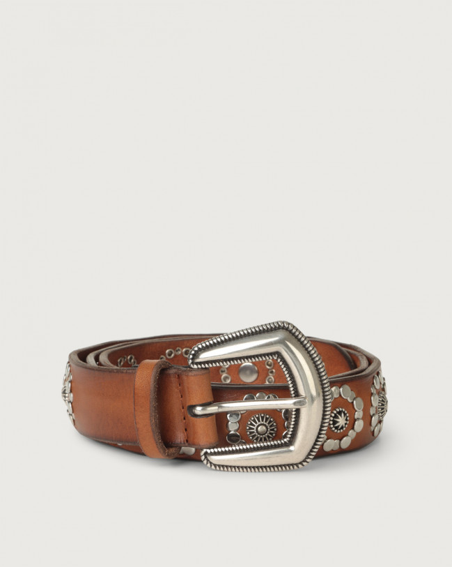Orciani Masculine micro-studs leather belt Cognac