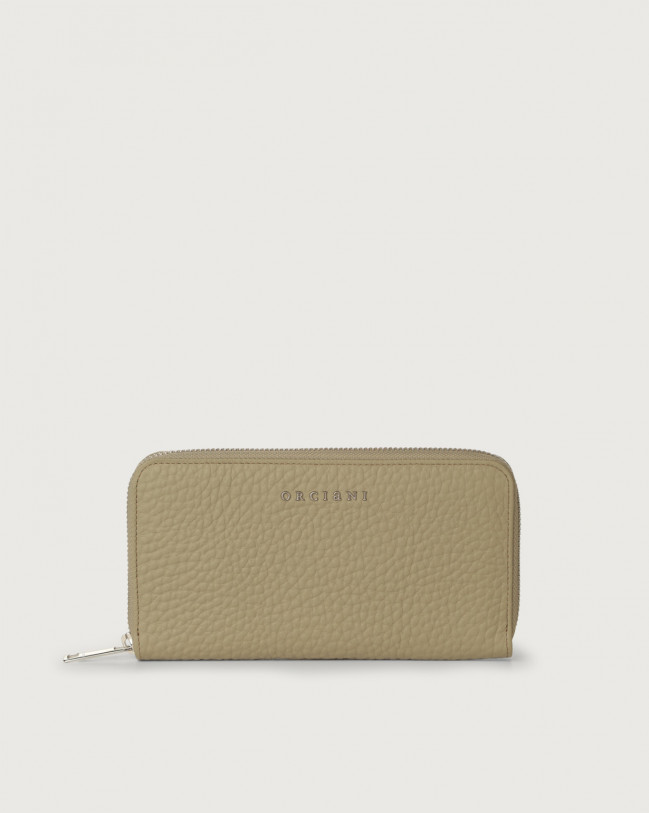 Orciani Soft large leather wallet with zip and RFID Leather Kaki