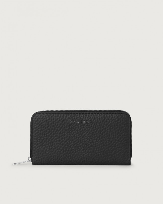 Orciani Soft large leather wallet with zip and RFID Leather Black