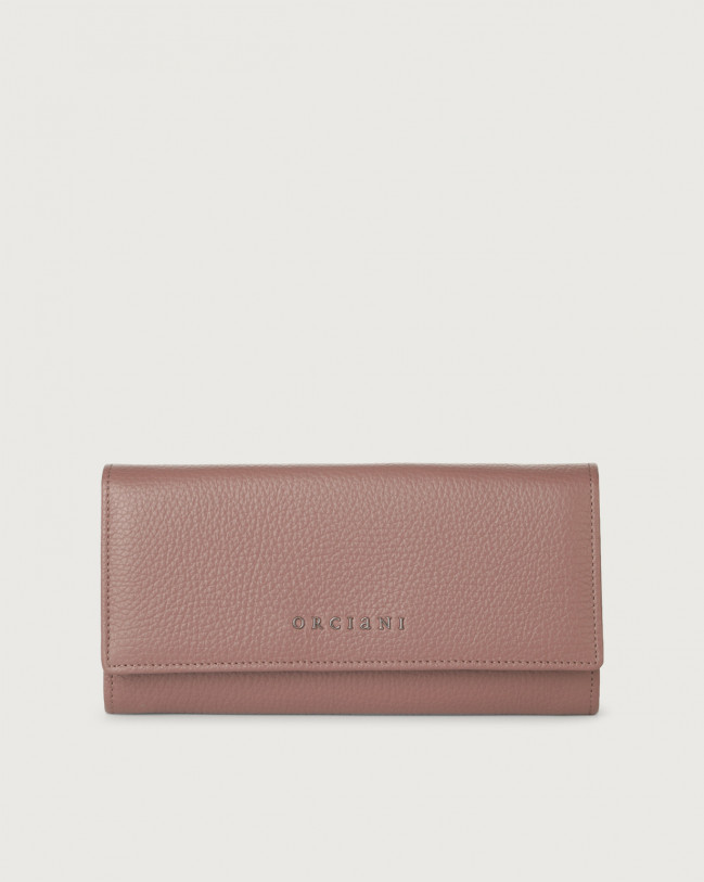 Orciani Micron leather envelope wallet with RFID Leather Mauve