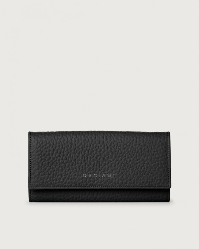 Orciani Soft leather envelope wallet with RFID Leather Black