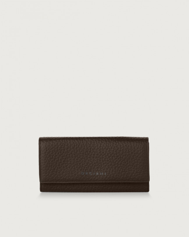 Orciani Soft leather envelope wallet with RFID Leather Chocolate