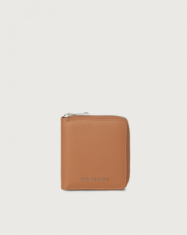 Orciani Micron small leather wallet with zip with RFID Leather Caramel