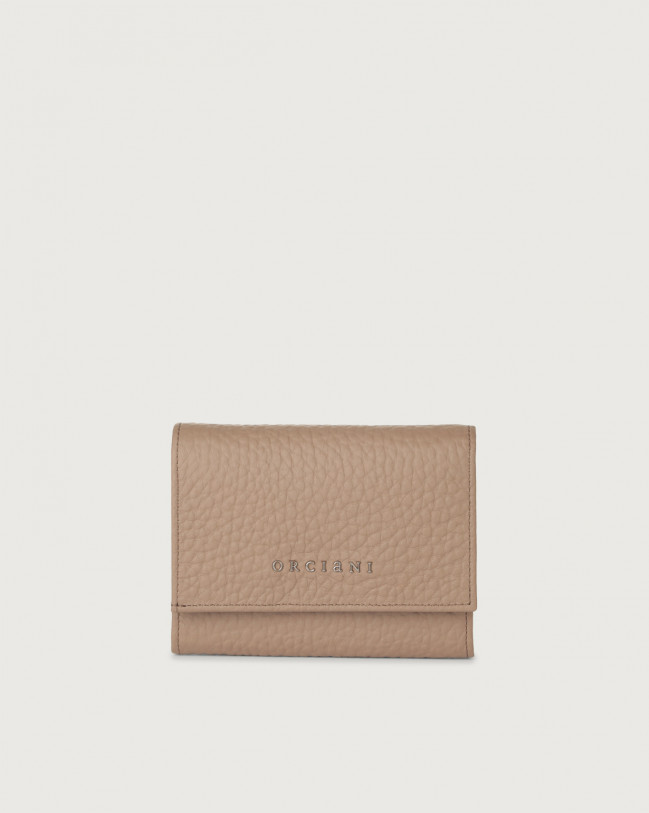 Orciani Soft small leather envelope wallet with RFID Leather Taupe