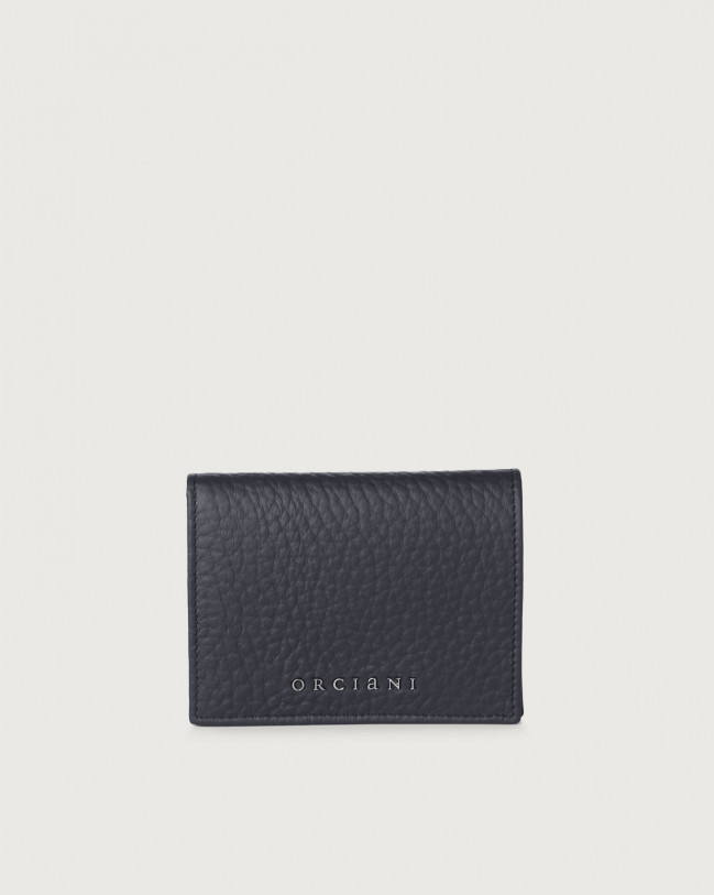 Orciani Soft small leather wallet with RFID Leather Navy
