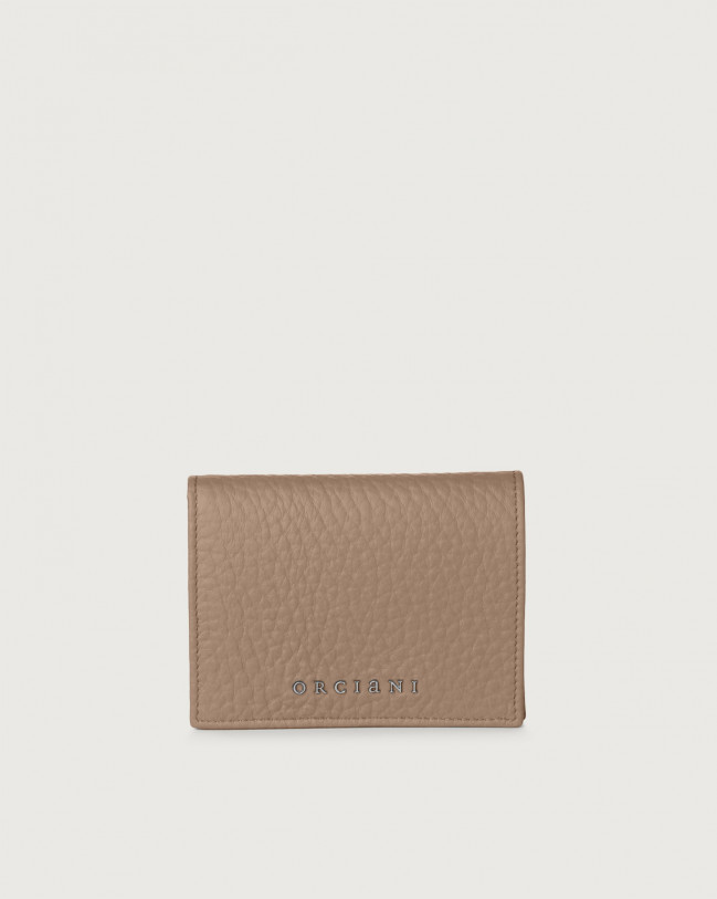 Orciani Soft small leather wallet with RFID Leather Taupe