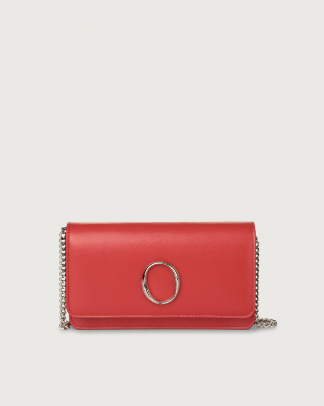 Orciani Liberty leather pochette with RFID Leather Red