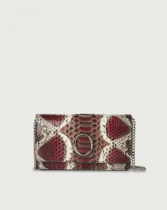 Orciani Naponos python leather pochette with RFID Python Leather Bordeaux