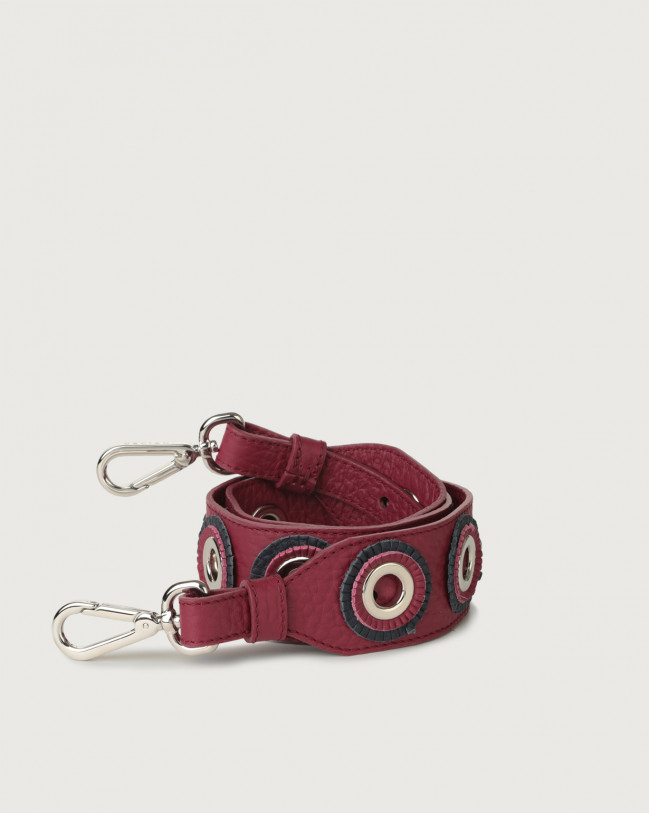 Orciani Soft adjustable leather strap with decorative rings Leather Purple
