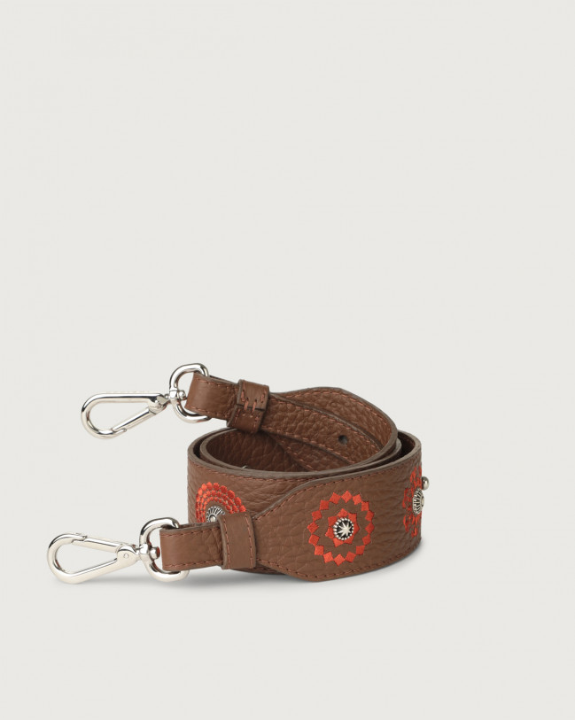 Orciani Soft embroidered leather strap Leather Caramel