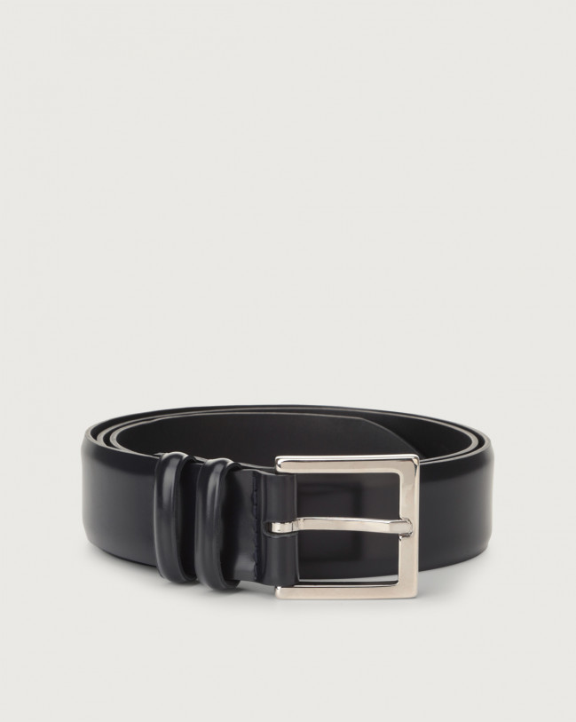 Orciani Toledo classic leather belt 3,5 cm Leather Blue