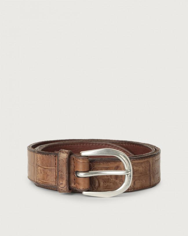 Orciani Cocco Coda Color classic crocodile leather belt Crocodile Leather Cognac