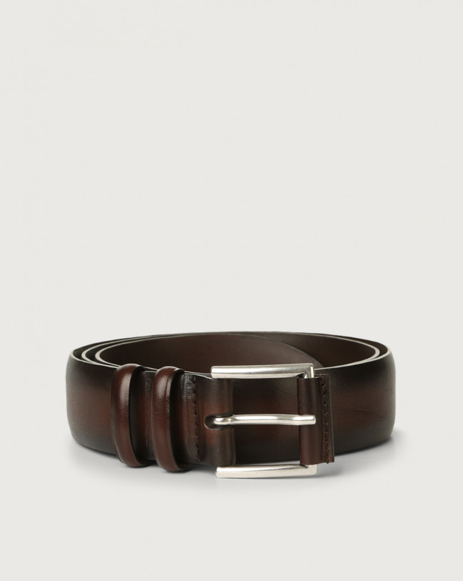 Orciani Buffer leather belt Leather Chocolate