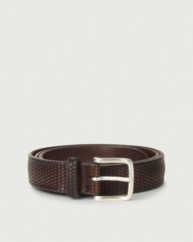 Orciani Bull Soft beehive pattern leather belt Leather Chocolate