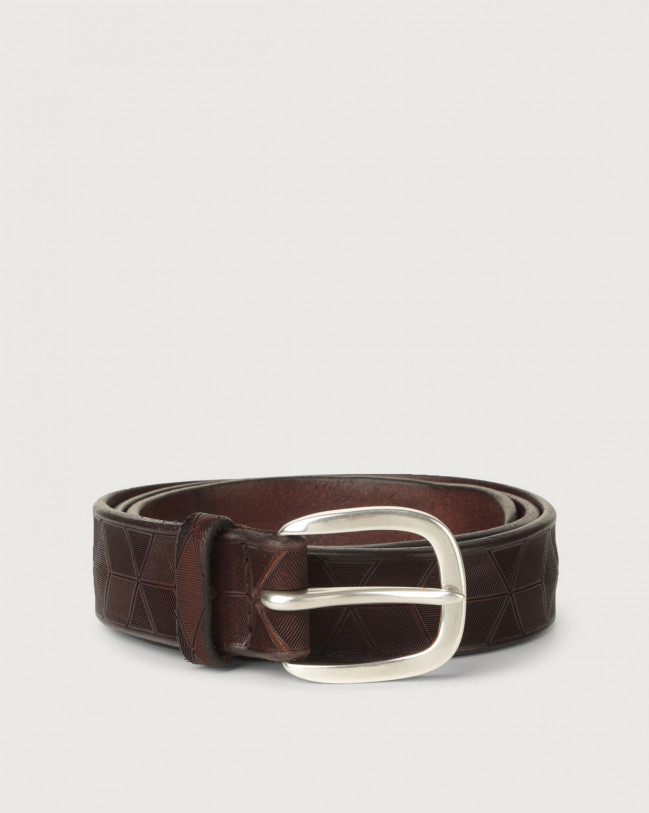 Orciani Bull Soft geometric decoration leather belt Leather Chocolate