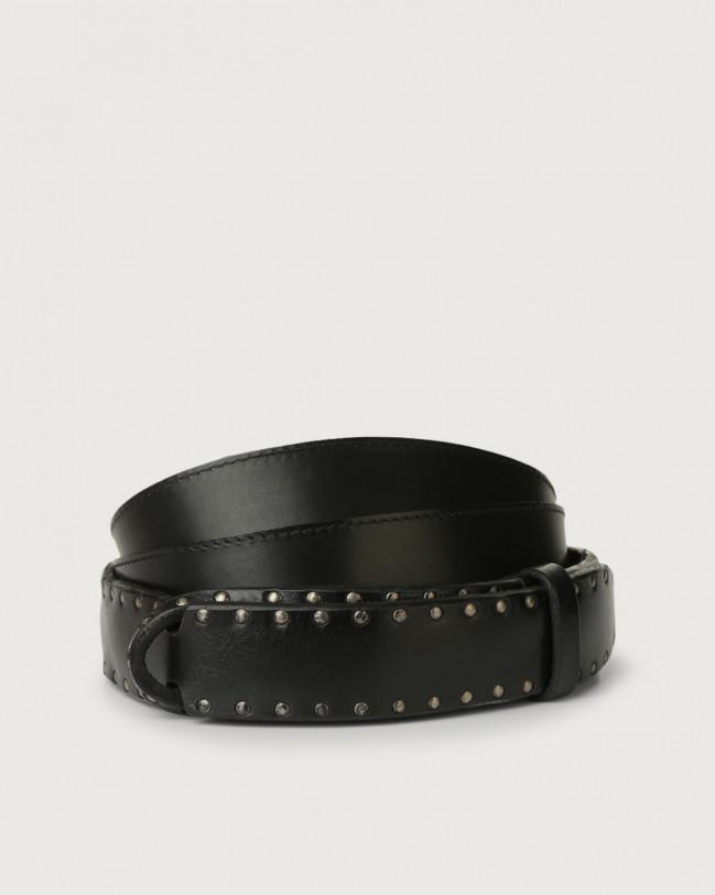 Orciani Bull Stud leather Nobuckle belt Leather Black