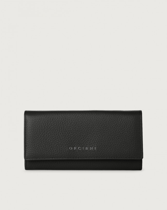 Orciani Micron leather envelope wallet with RFID Leather Black