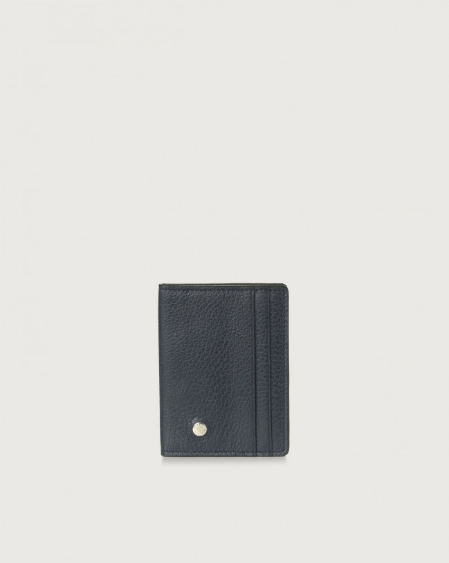 Orciani Micron hinge opening leather card holder Leather Navy