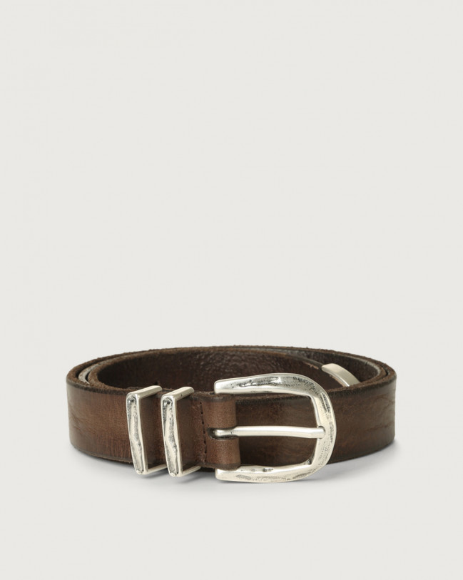 Orciani Stain leather belt Chocolate