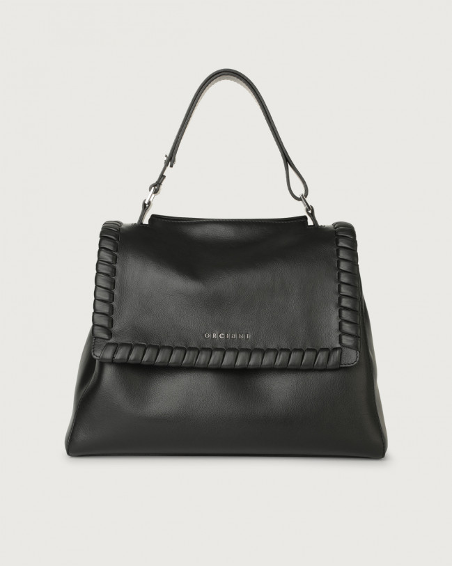 Orciani Sveva Liberty medium leather shoulder bag with strap Black