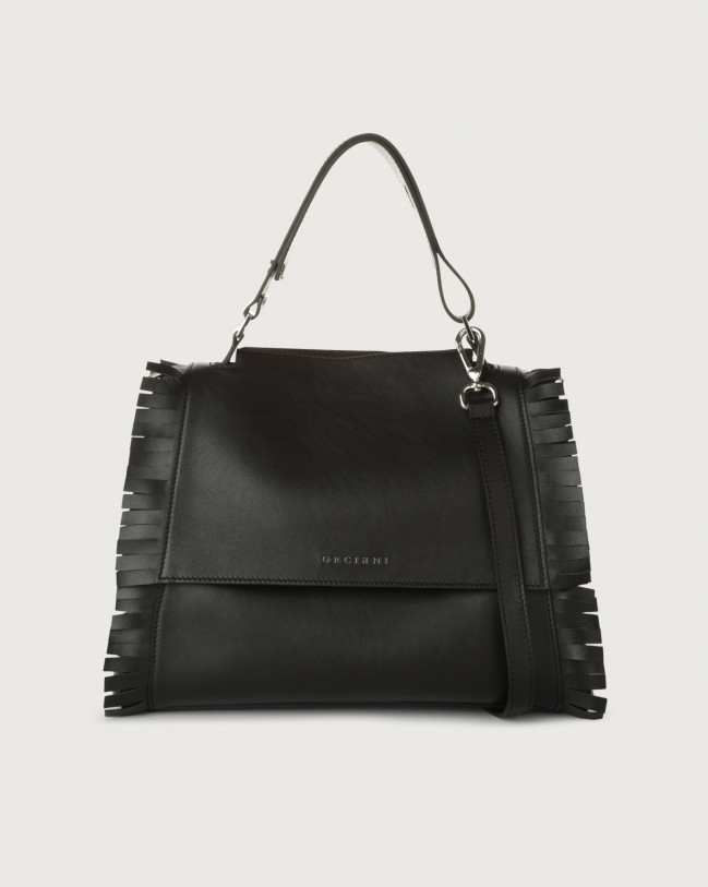 Orciani Sveva Fringe medium leather shoulder bag with strap Leather Black