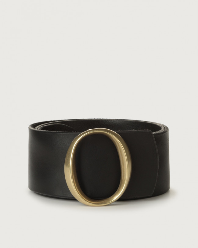 Orciani Bull Soft high-waist leather belt brass monogram buckle Leather Black