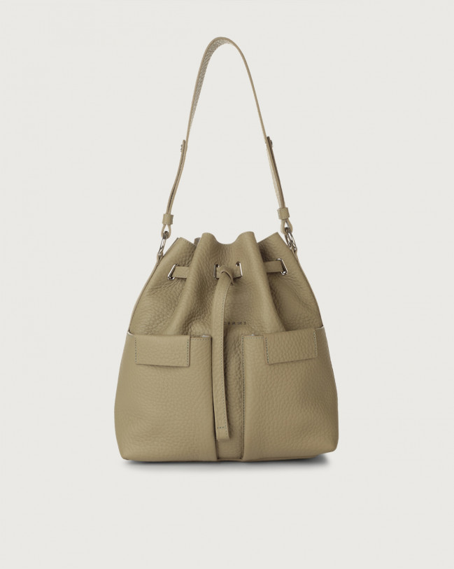 Orciani Tessa Soft medium leather bucket bag Leather Kaki