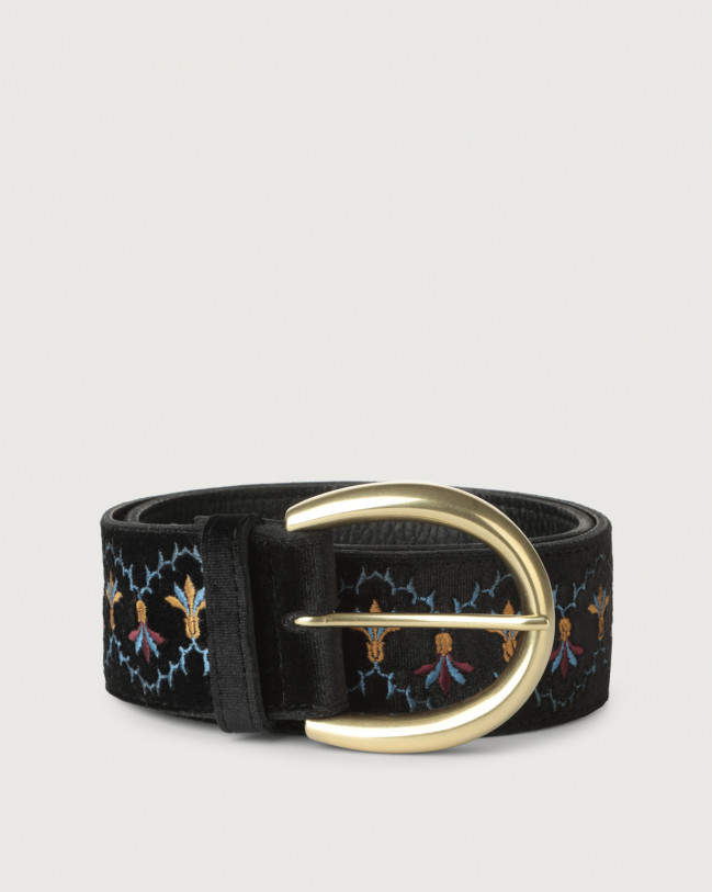 Orciani Velvet Tuscania high-waist velvet and leather belt Leather, Velvet Black