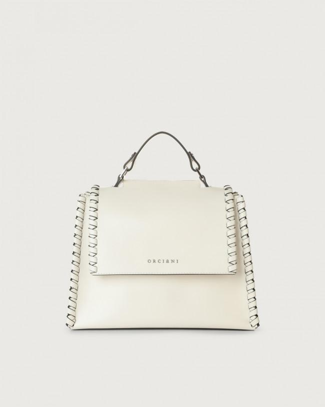 Orciani Sveva Liberty Mesh small leather handbag with strap Leather White