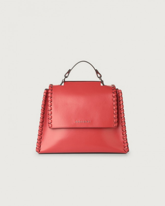 Orciani Sveva Liberty Mesh small leather handbag with strap Leather Red
