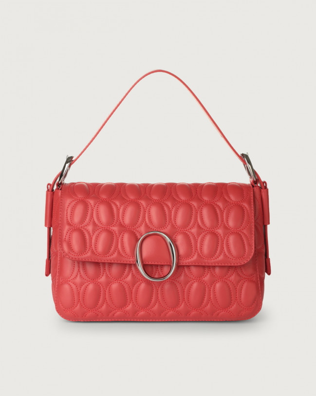 Orciani Soho Matelassé leather baguette bag with strap Leather Red