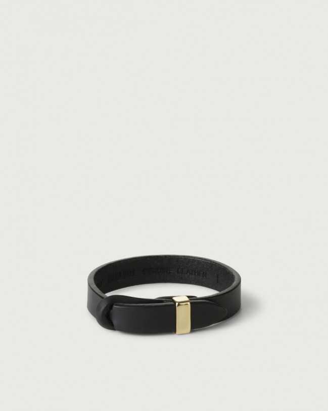 Orciani Bull leather Nobuckle bracelet with gold detail Leather Blue
