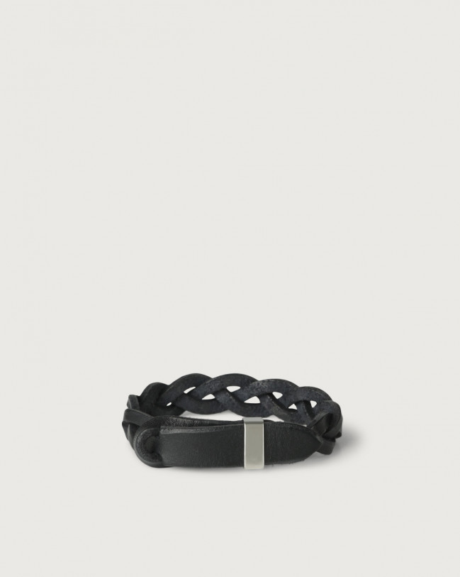 Orciani Walk leather Nobuckle bracelet with silver detail Leather Black