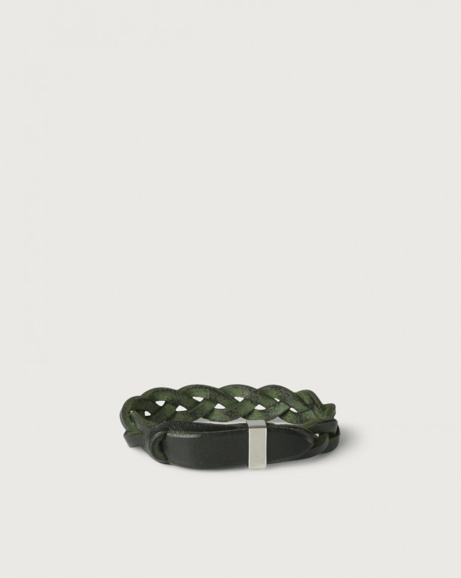 Orciani Walk leather Nobuckle bracelet with silver detail Leather Green